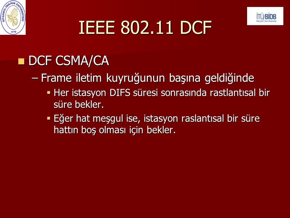 IEEE 802.11 DCF  DCF CSMA/CA –Frame iletim kuyruğunun başına geldiğinde  Her istasyon DIFS süresi sonrasında rastlantısal bir süre bekler.  Eğer ha