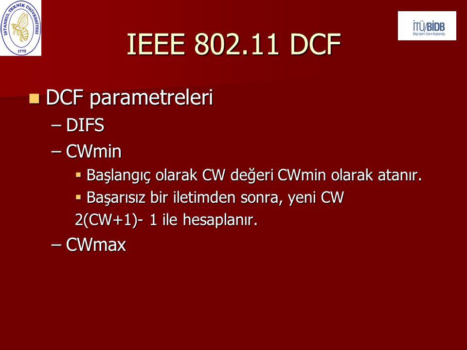  DCF parametreleri –DIFS –CWmin  Başlangıç olarak CW değeri CWmin olarak atanır.  Başarısız bir iletimden sonra, yeni CW 2(CW+1)- 1 ile hesaplanır.