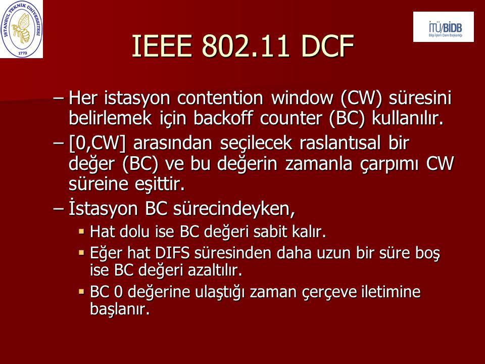 –Her istasyon contention window (CW) süresini belirlemek için backoff counter (BC) kullanılır. –[0,CW] arasından seçilecek raslantısal bir değer (BC)