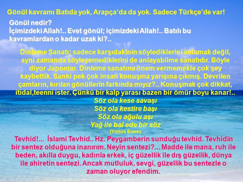 Gönül kavramı Batıda yok, Arapça'da da yok.Sadece Türkçe'de var.