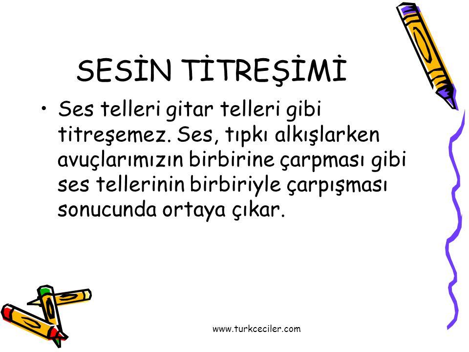 www.turkceciler.com SESİN TİTREŞİMİ •Ses telleri gitar telleri gibi titreşemez. Ses, tıpkı alkışlarken avuçlarımızın birbirine çarpması gibi ses telle