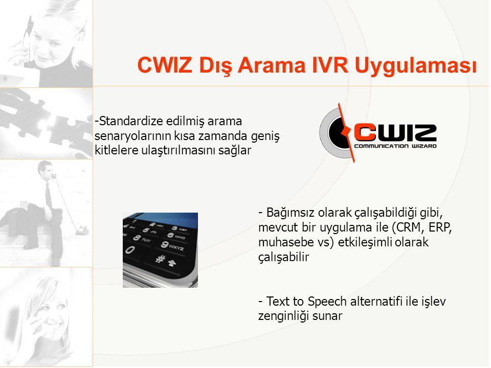 CWIZ IVR ile Neler Yapabilirsiniz.• Borç bildirimi ve vade hatırlatması yapabilirsiniz.