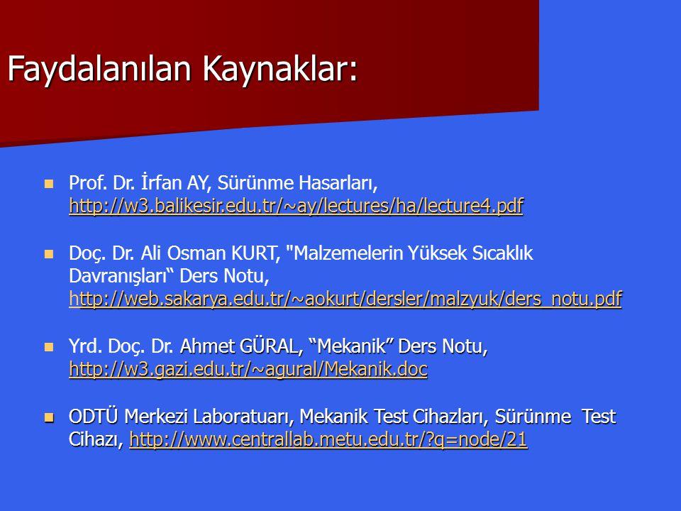Faydalanılan Kaynaklar: http://w3.balikesir.edu.tr/~ay/lectures/ha/lecture4.pdf http://w3.balikesir.edu.tr/~ay/lectures/ha/lecture4.pdf  Prof. Dr. İr