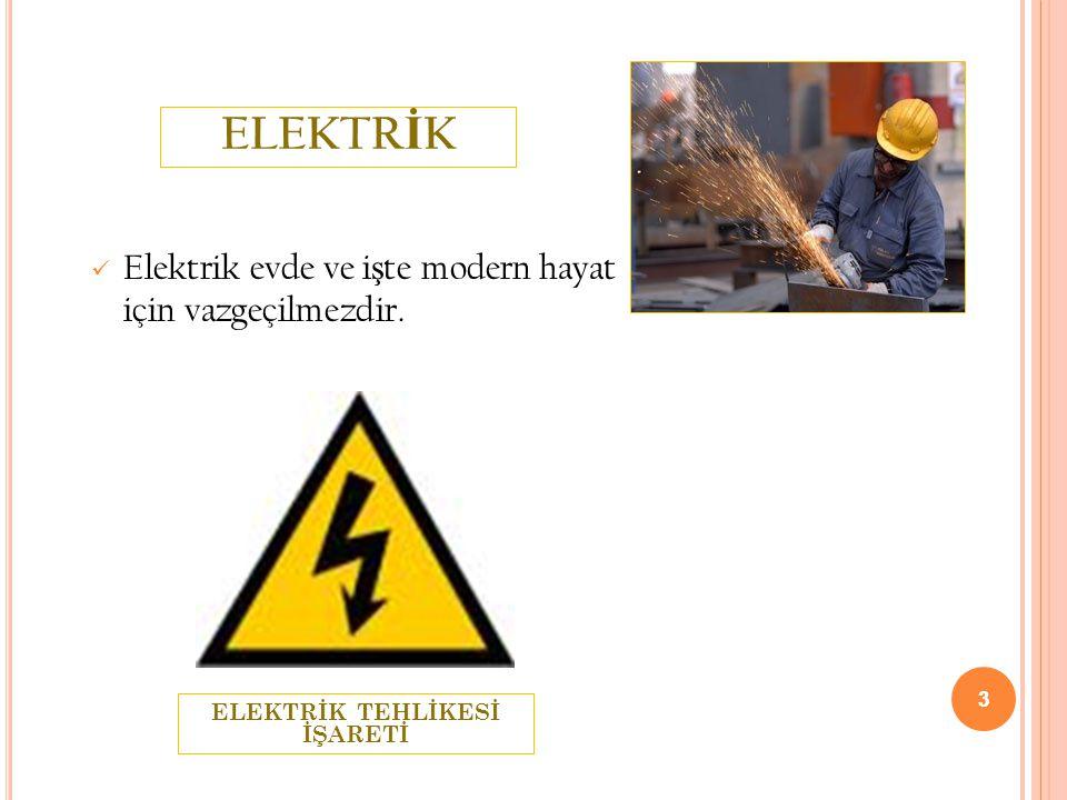 3 ELEKTR İ K  Elektrik evde ve i ş te modern hayat için vazgeçilmezdir. 3 ELEKTRİK TEHLİKESİ İŞARETİ