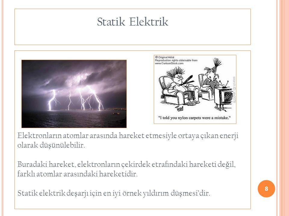 8 Statik Elektrik Elektronların atomlar arasında hareket etmesiyle ortaya çıkan enerji olarak dü ş ünülebilir. Buradaki hareket, elektronların çekirde