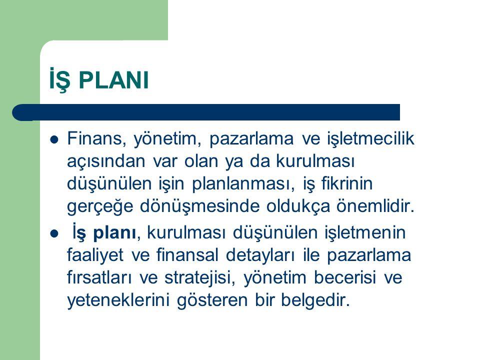 İŞ PLANI  Finans, yönetim, pazarlama ve işletmecilik açısından var olan ya da kurulması düşünülen işin planlanması, iş fikrinin gerçeğe dönüşmesinde