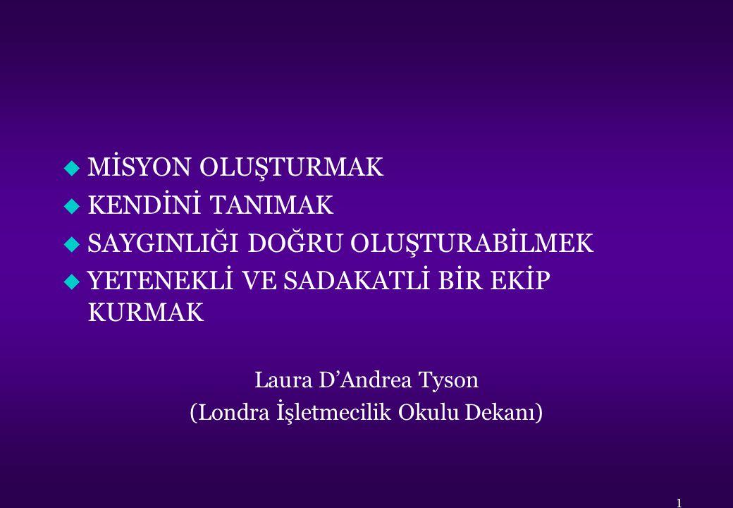 u MİSYON OLUŞTURMAK u KENDİNİ TANIMAK u SAYGINLIĞI DOĞRU OLUŞTURABİLMEK u YETENEKLİ VE SADAKATLİ BİR EKİP KURMAK Laura D'Andrea Tyson (Londra İşletmec
