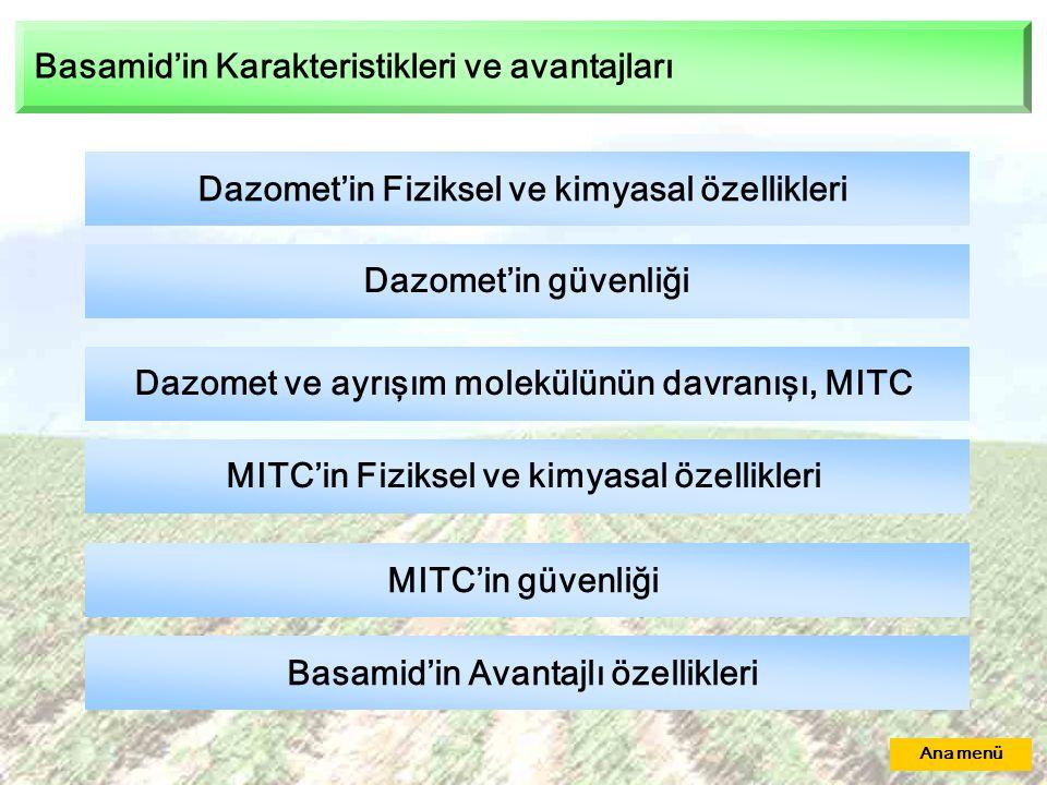 Basamid'in Karakteristikleri ve avantajları Dazomet'in Fiziksel ve kimyasal özellikleri Dazomet'in güvenliği Dazomet ve ayrışım molekülünün davranışı, MITC MITC'in Fiziksel ve kimyasal özellikleri MITC'in güvenliği Basamid'in Avantajlı özellikleri Ana menü