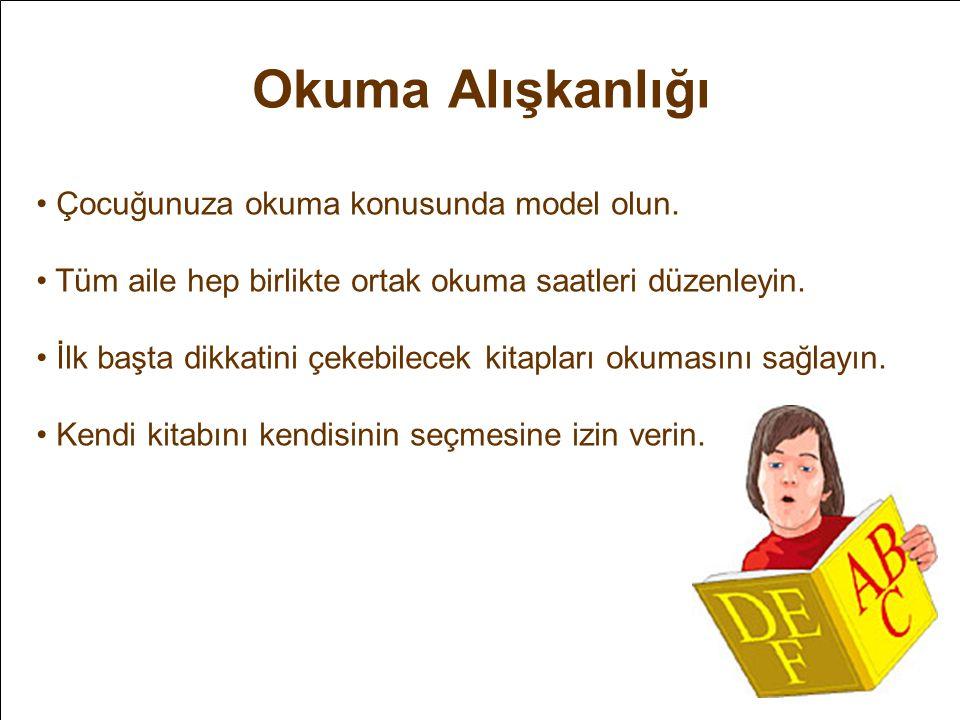 Okuma Alışkanlığı • Çocuğunuza okuma konusunda model olun. • Tüm aile hep birlikte ortak okuma saatleri düzenleyin. • İlk başta dikkatini çekebilecek