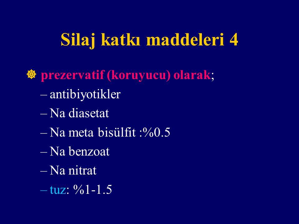 Silaj katkı maddeleri 4  prezervatif (koruyucu) olarak; –antibiyotikler –Na diasetat –Na meta bisülfit :%0.5 –Na benzoat –Na nitrat –tuz: %1-1.5