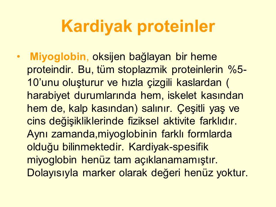 Kardiyak proteinler • Miyoglobin, oksijen bağlayan bir heme proteindir.