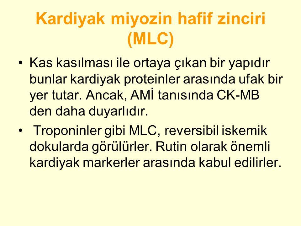 Kardiyak miyozin hafif zinciri (MLC) •Kas kasılması ile ortaya çıkan bir yapıdır bunlar kardiyak proteinler arasında ufak bir yer tutar.