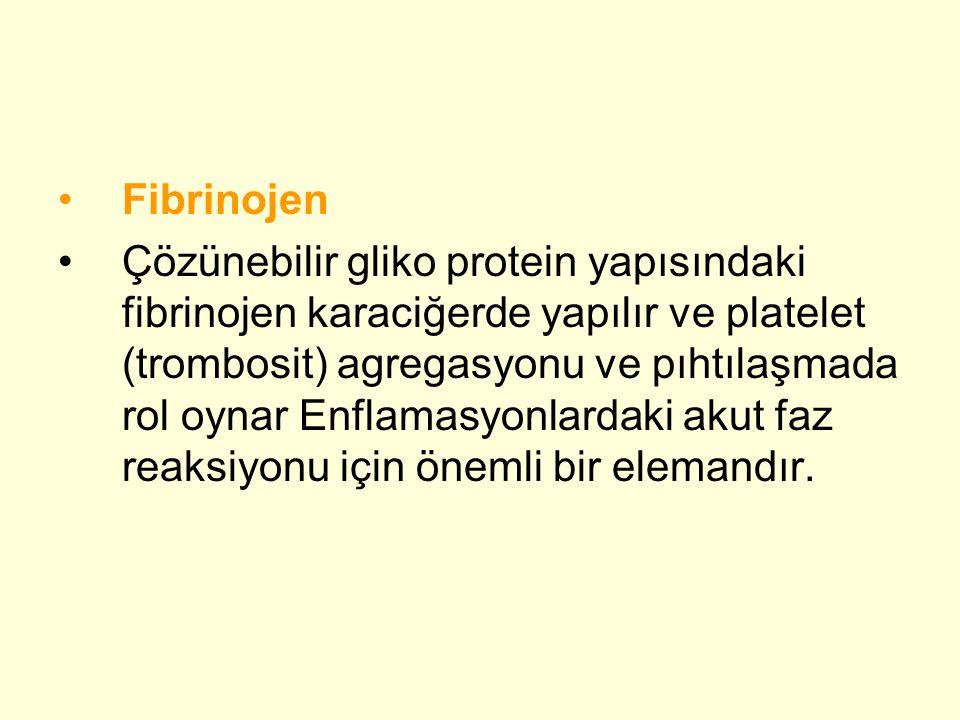 •Fibrinojen •Çözünebilir gliko protein yapısındaki fibrinojen karaciğerde yapılır ve platelet (trombosit) agregasyonu ve pıhtılaşmada rol oynar Enflamasyonlardaki akut faz reaksiyonu için önemli bir elemandır.