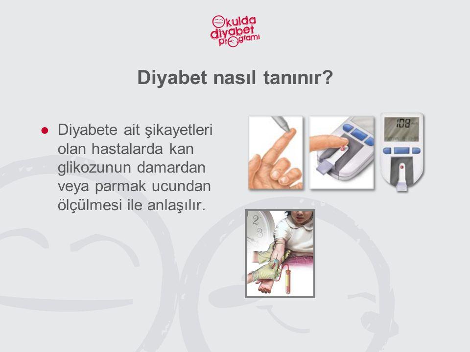 Diyabet nasıl tanınır? ●Diyabete ait şikayetleri olan hastalarda kan glikozunun damardan veya parmak ucundan ölçülmesi ile anlaşılır.