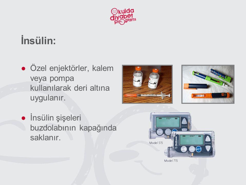 İnsülin: ●Özel enjektörler, kalem veya pompa kullanılarak deri altına uygulanır. ●İnsülin şişeleri buzdolabının kapağında saklanır.