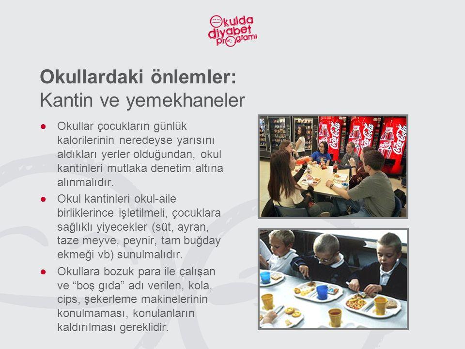 Okullardaki önlemler: Kantin ve yemekhaneler ●Okullar çocukların günlük kalorilerinin neredeyse yarısını aldıkları yerler olduğundan, okul kantinleri