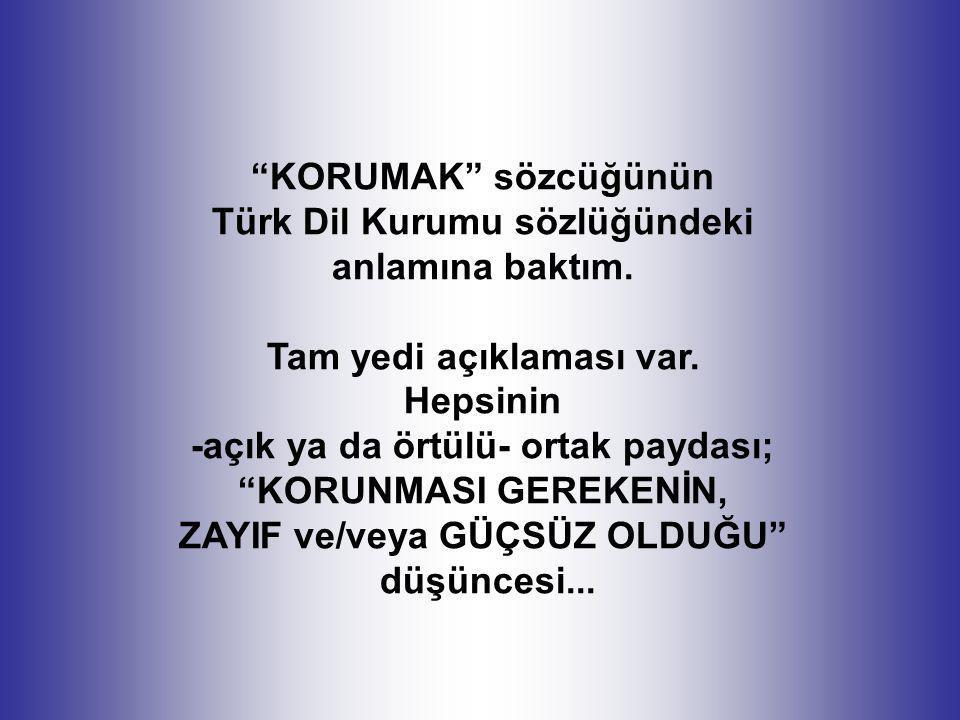 """""""KORUMAK"""" sözcüğünün Türk Dil Kurumu sözlüğündeki anlamına baktım. Tam yedi açıklaması var. Hepsinin -açık ya da örtülü- ortak paydası; """"KORUNMASI GER"""