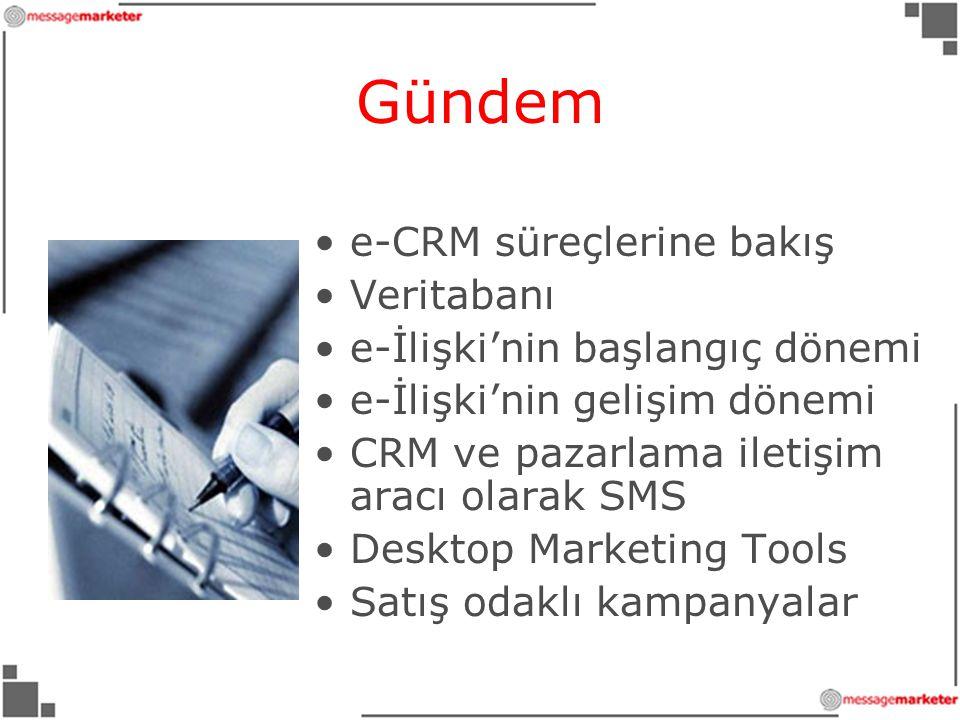 Gündem •e-CRM süreçlerine bakış •Veritabanı •e-İlişki'nin başlangıç dönemi •e-İlişki'nin gelişim dönemi •CRM ve pazarlama iletişim aracı olarak SMS •Desktop Marketing Tools •Satış odaklı kampanyalar