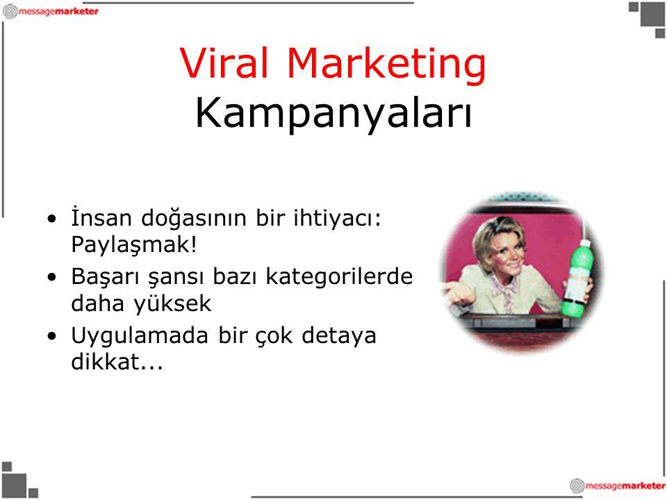 Viral Marketing Kampanyaları •İnsan doğasının bir ihtiyacı: Paylaşmak.