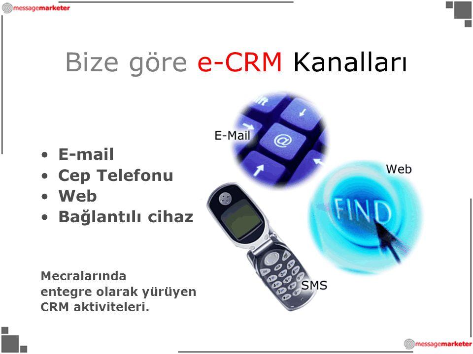 Bize göre e-CRM Kanalları •E-mail •Cep Telefonu •Web •Bağlantılı cihaz Mecralarında entegre olarak yürüyen CRM aktiviteleri.
