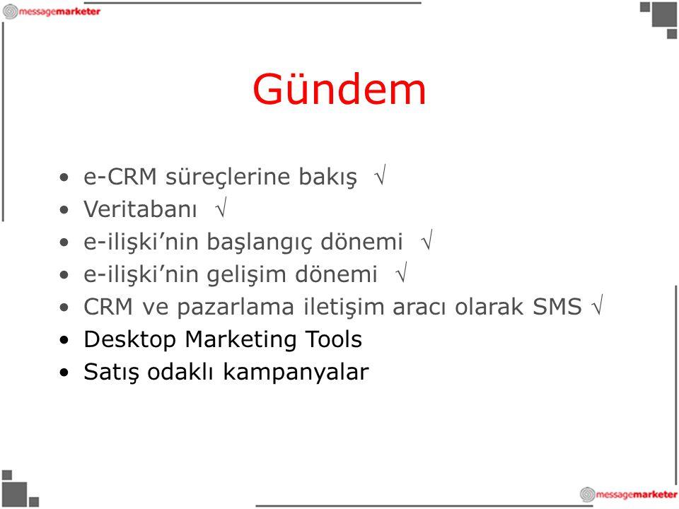 Gündem •e-CRM süreçlerine bakış  •Veritabanı  •e-ilişki'nin başlangıç dönemi  •e-ilişki'nin gelişim dönemi  •CRM ve pazarlama iletişim aracı olarak SMS  •Desktop Marketing Tools •Satış odaklı kampanyalar