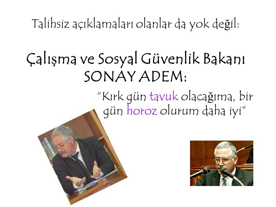 """Talihsiz açıklamaları olanlar da yok de ğ il: Çalı ş ma ve Sosyal Güvenlik Bakanı SONAY ADEM: """"Kırk gün tavuk olaca ğ ıma, bir gün horoz olurum daha i"""