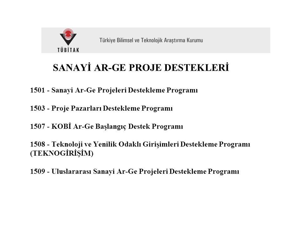 SANAYİ AR-GE PROJE DESTEKLERİ 1501 - Sanayi Ar-Ge Projeleri Destekleme Programı 1503 - Proje Pazarları Destekleme Programı 1507 - KOBİ Ar-Ge Başlangıç