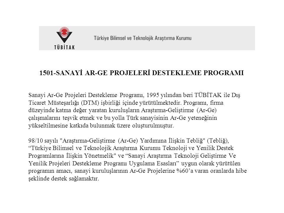 1501-SANAYİ AR-GE PROJELERİ DESTEKLEME PROGRAMI Sanayi Ar-Ge Projeleri Destekleme Programı, 1995 yılından beri TÜBİTAK ile Dış Ticaret Müsteşarlığı (D