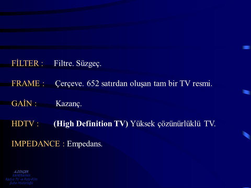 A.DİNÇER KAMERAMAN Radyo TV ve Foto-Film Şube Müdürlüğü FİLTER : Filtre. Süzgeç. FRAME : Çerçeve. 652 satırdan oluşan tam bir TV resmi. GAİN : Kazanç.
