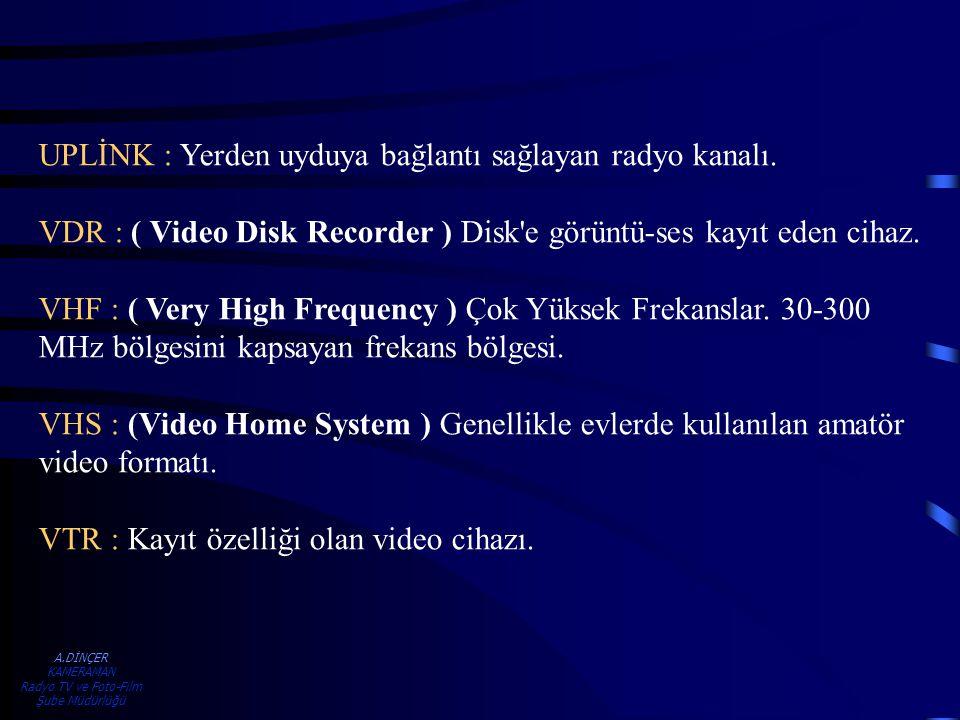 A.DİNÇER KAMERAMAN Radyo TV ve Foto-Film Şube Müdürlüğü UPLİNK : Yerden uyduya bağlantı sağlayan radyo kanalı. VDR : ( Video Disk Recorder ) Disk'e gö