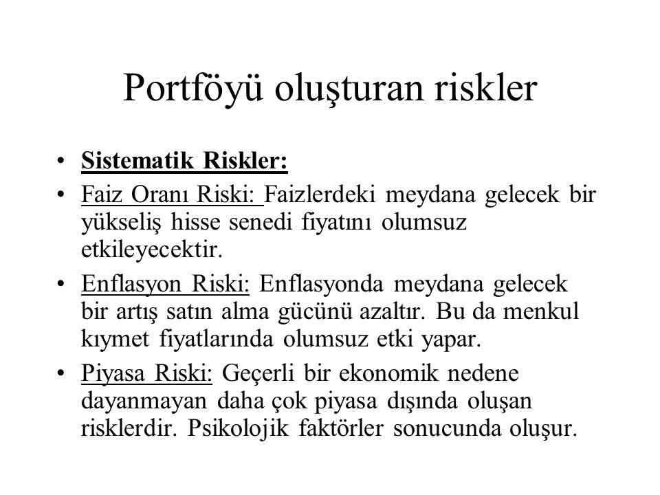 Portföyü oluşturan riskler •Sistematik Riskler: •Faiz Oranı Riski: Faizlerdeki meydana gelecek bir yükseliş hisse senedi fiyatını olumsuz etkileyecektir.