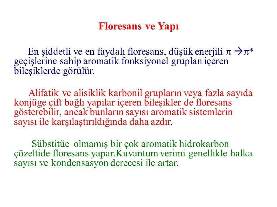 Floresans ve Yapı En şiddetli ve en faydalı floresans, düşük enerjili    * geçişlerine sahip aromatik fonksiyonel gruplan içeren bileşiklerde görül