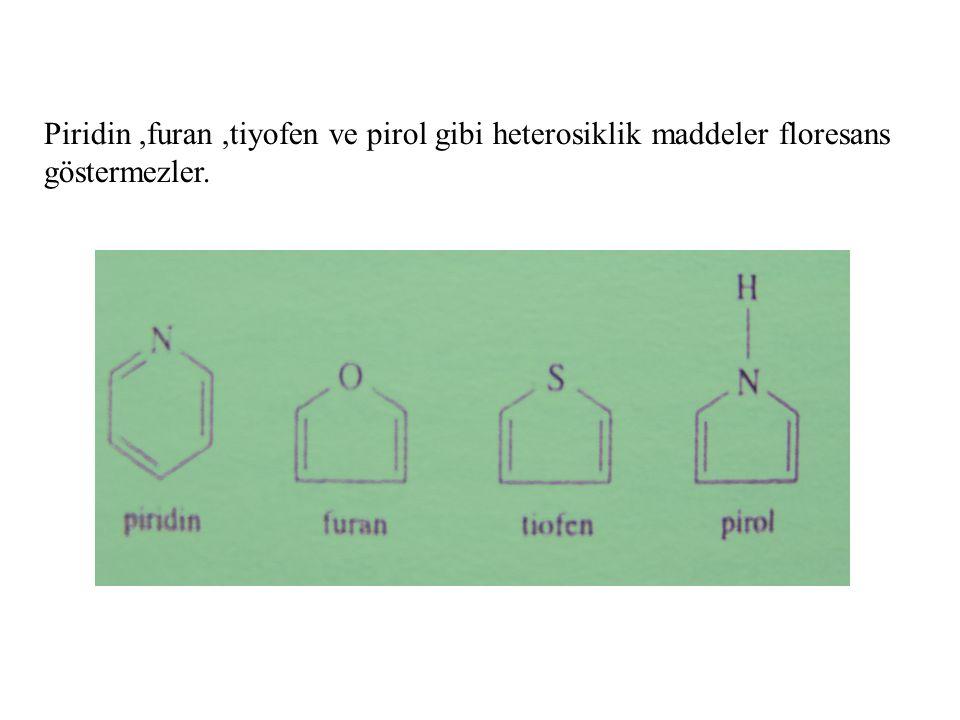 Piridin,furan,tiyofen ve pirol gibi heterosiklik maddeler floresans göstermezler.