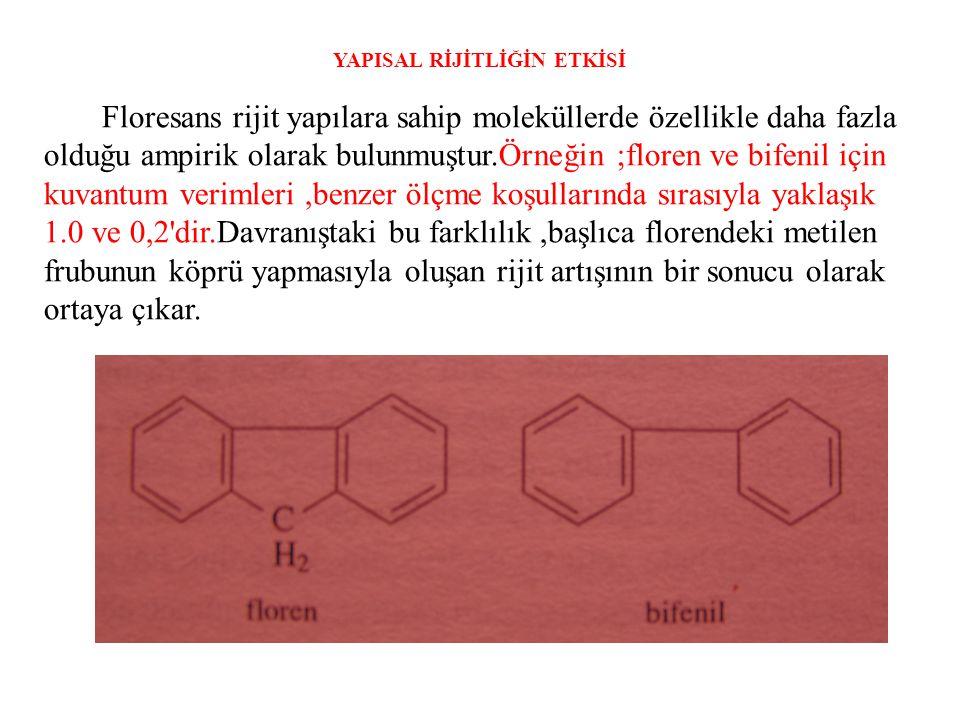 YAPISAL RİJİTLİĞİN ETKİSİ Floresans rijit yapılara sahip moleküllerde özellikle daha fazla olduğu ampirik olarak bulunmuştur.Örneğin ;floren ve bifeni