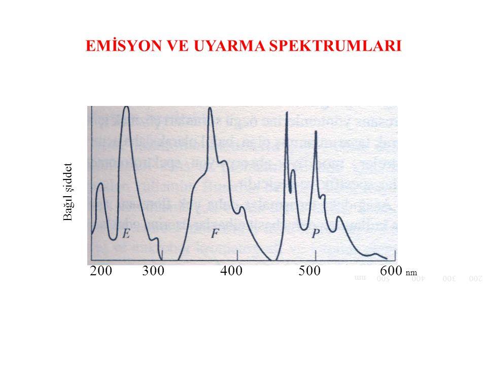 EMİSYON VE UYARMA SPEKTRUMLARI Bağıl şiddet 200 300 400 500 nm 200 300 400 500 600 nm