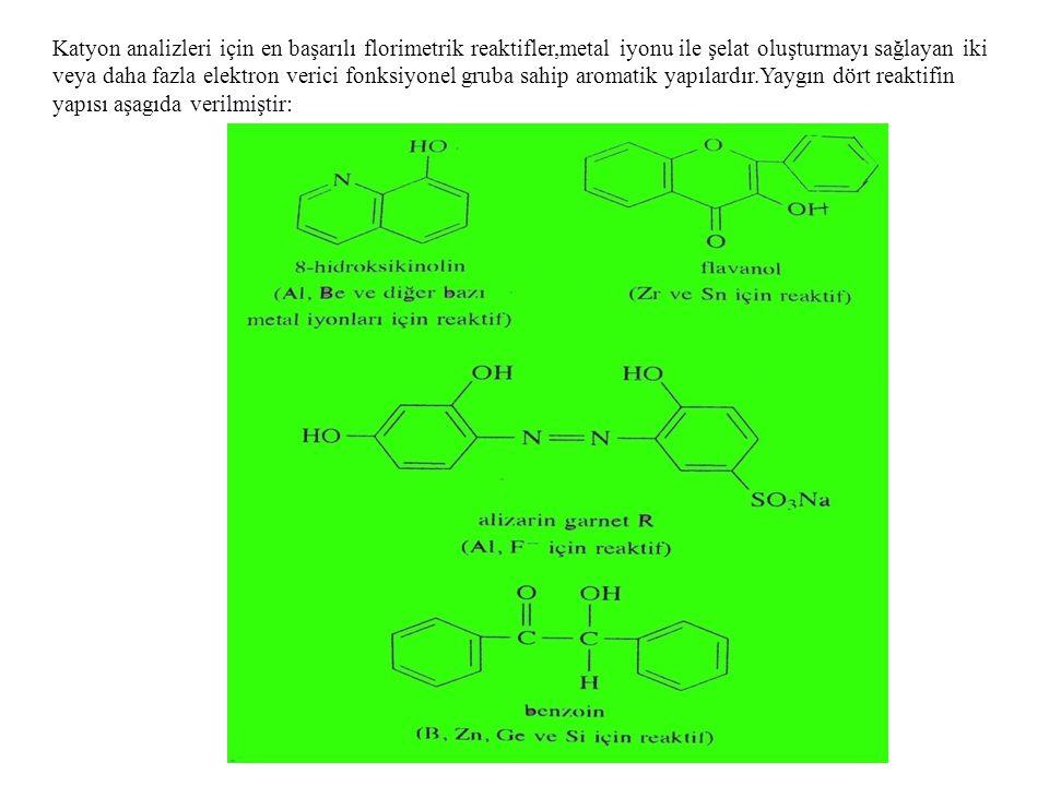 Katyon analizleri için en başarılı florimetrik reaktifler,metal iyonu ile şelat oluşturmayı sağlayan iki veya daha fazla elektron verici fonksiyonel g