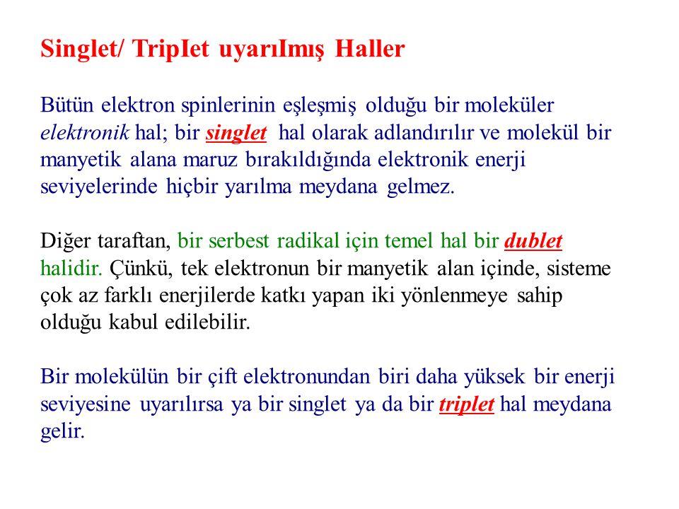 Singlet/ TripIet uyarıImış Haller Bütün elektron spinlerinin eşleşmiş olduğu bir moleküler elektronik hal; bir singlet hal olarak adlandırılır ve mole