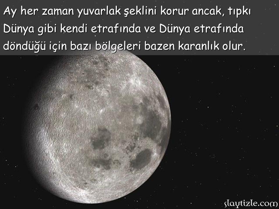 Ay zaman zaman farklı biçimlerde gözükse de aslında onun şekli hiç değişmemektedir. Ay zaman farklı biçimlerde gözükse de aslında onun şekli hiç değiş