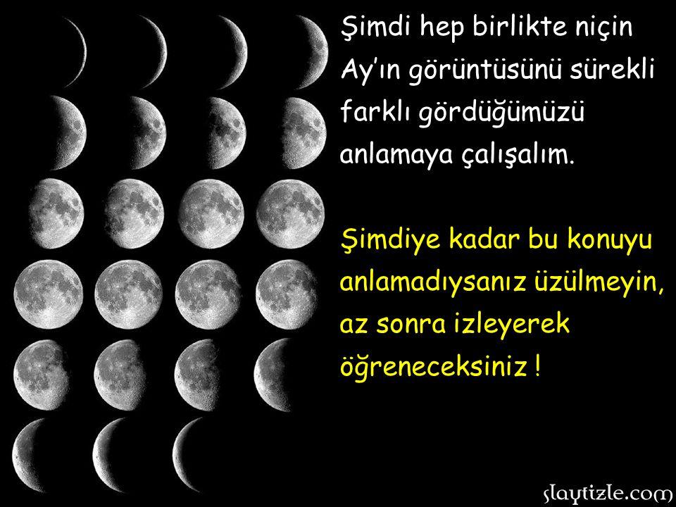 Ay her zaman yuvarlak şeklini korur ancak, tıpkı Dünya gibi kendi etrafında ve Dünya etrafında döndüğü için bazı bölgeleri bazen karanlık olur.
