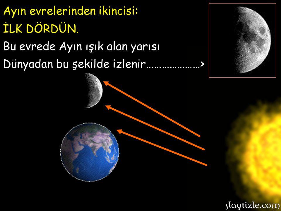 Ayın evrelerinden ilki: YENİ AY. Bu evrede ay güneş ile dünya arasındadır. Dünyadan bakıldığında Ay, güneş ışınlarını kapattığı için neredeyse hiç göz