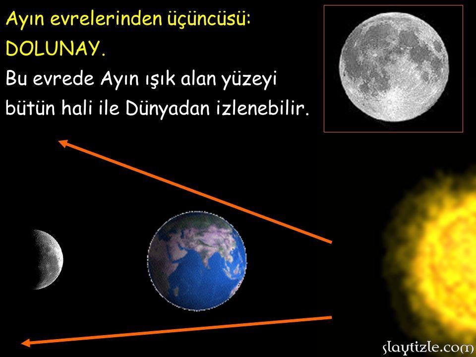 Ayın evrelerinden ikincisi: İLK DÖRDÜN. Bu evrede Ayın ışık alan yarısı Dünyadan bu şekilde izlenir…………………> Ayın evrelerinden ikincisi: İLK DÖRDÜN. Bu