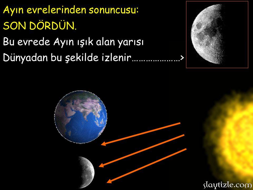 Ayın evrelerinden üçüncüsü: DOLUNAY. Bu evrede Ayın ışık alan yüzeyi bütün hali ile Dünyadan izlenebilir. Ayın evrelerinden üçüncüsü: DOLUNAY. Bu evre