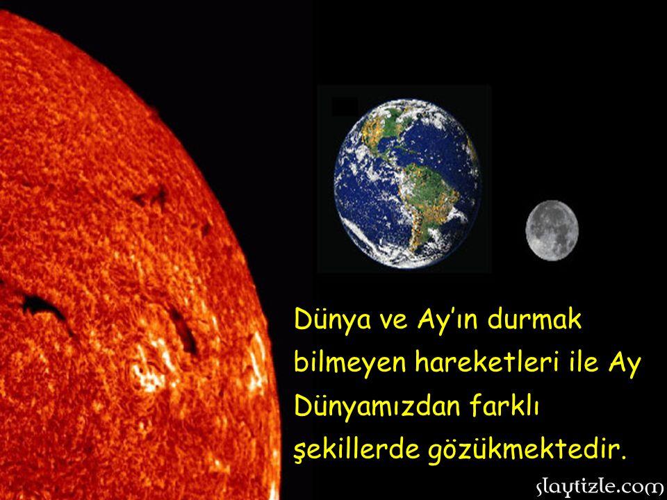 Ay'da oksijen, su gibi öğeler mevcut olmadığı için Ay bize hep renksiz ve soğuk gözükür. Oysa Ay'dan Dünyamızı izliyor olsaydık, güzel gezegenemizi bö