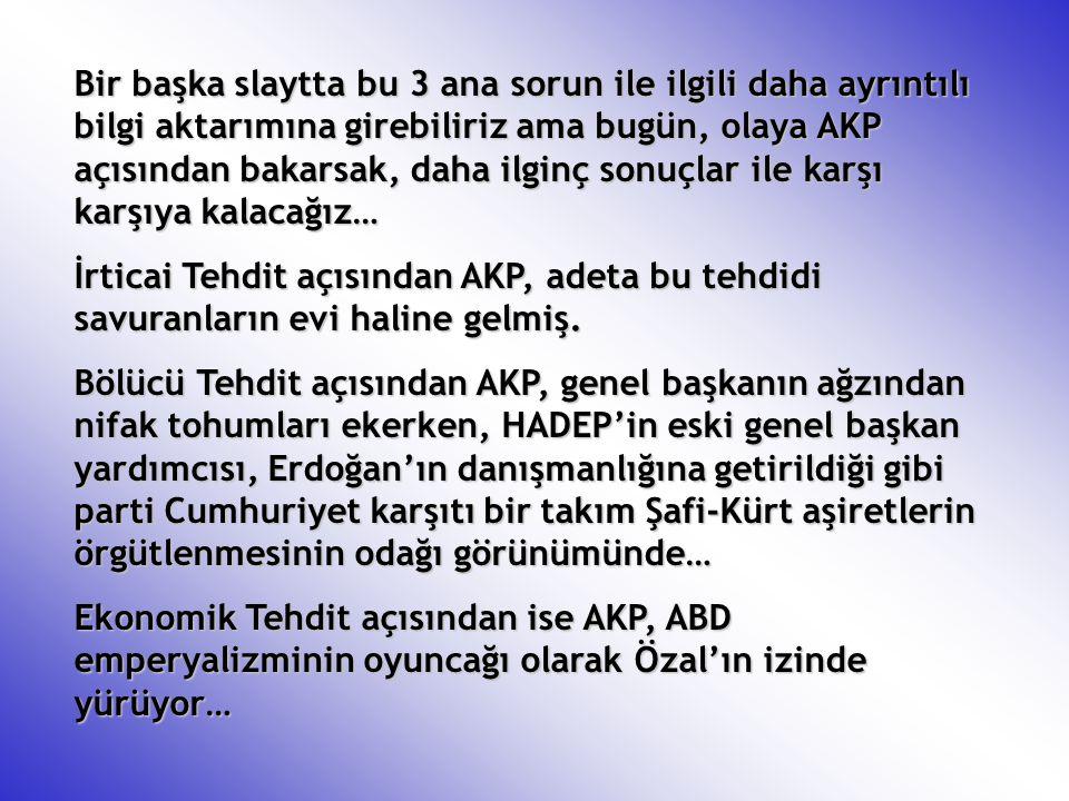 Bir başka slaytta bu 3 ana sorun ile ilgili daha ayrıntılı bilgi aktarımına girebiliriz ama bugün, olaya AKP açısından bakarsak, daha ilginç sonuçlar
