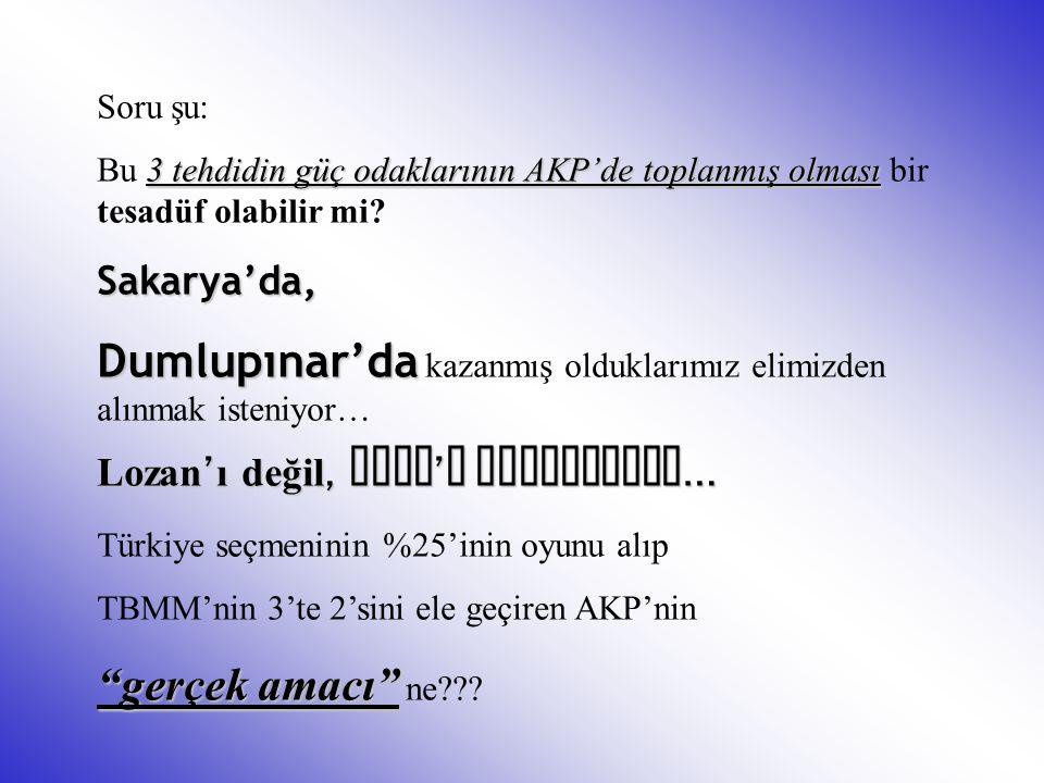 Soru şu: 3 tehdidin güç odaklarının AKP'de toplanmış olması Bu 3 tehdidin güç odaklarının AKP'de toplanmış olması bir tesadüf olabilir mi?Sakarya'da,