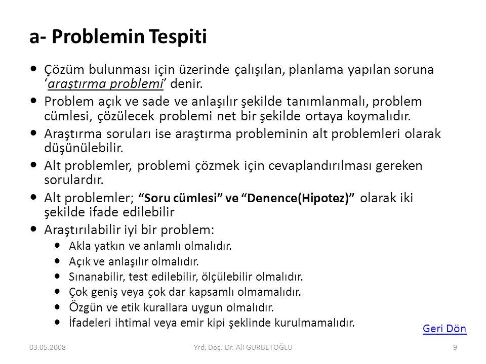 a- Problemin Tespiti  Çözüm bulunması için üzerinde çalışılan, planlama yapılan soruna 'araştırma problemi' denir.  Problem açık ve sade ve anlaşılı