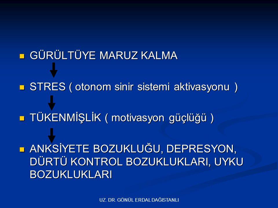 UZ. DR. GÖNÜL ERDAL DAĞISTANLI  GÜRÜLTÜYE MARUZ KALMA  STRES ( otonom sinir sistemi aktivasyonu )  TÜKENMİŞLİK ( motivasyon güçlüğü )  ANKSİYETE B