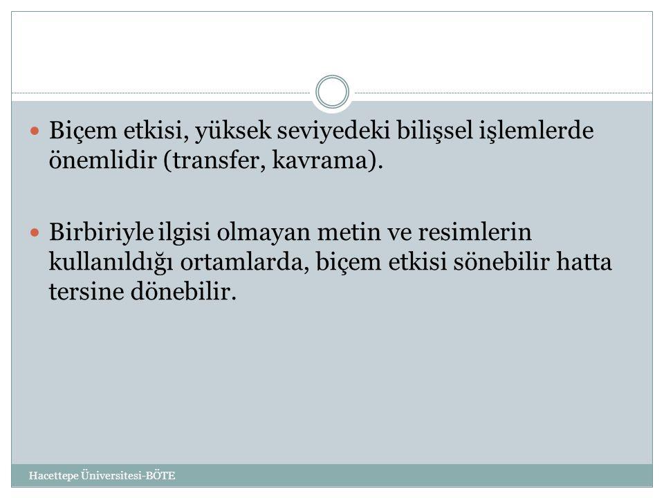 Hacettepe Üniversitesi-BÖTE  Biçem etkisi, yüksek seviyedeki bilişsel işlemlerde önemlidir (transfer, kavrama).