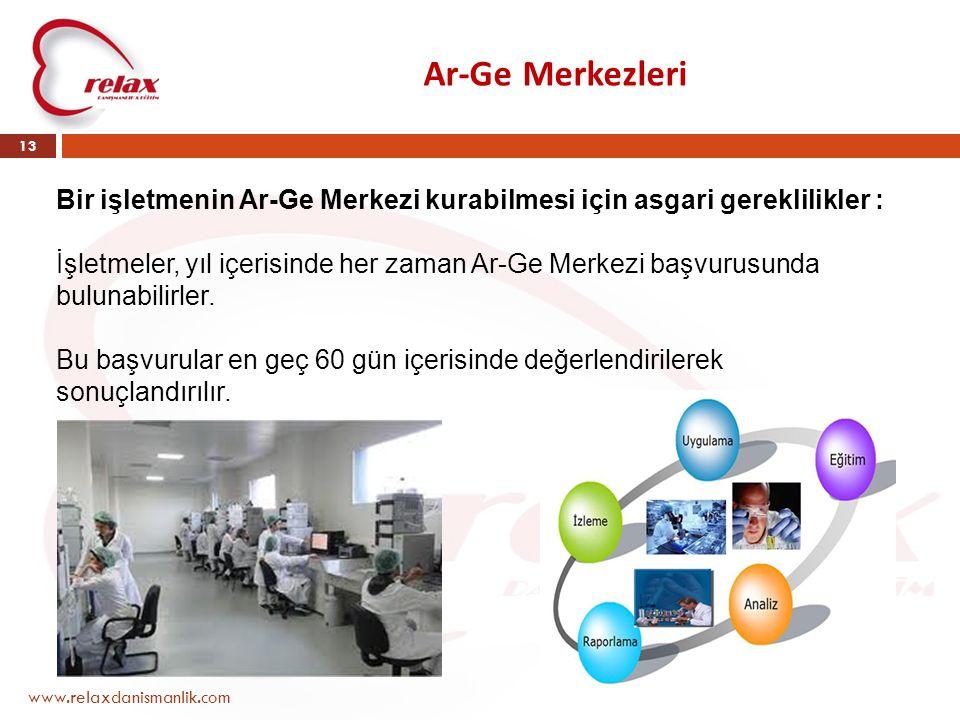 Ar-Ge Merkezleri www.relaxdanismanlik.com 13 Bir işletmenin Ar-Ge Merkezi kurabilmesi için asgari gereklilikler : İşletmeler, yıl içerisinde her zaman
