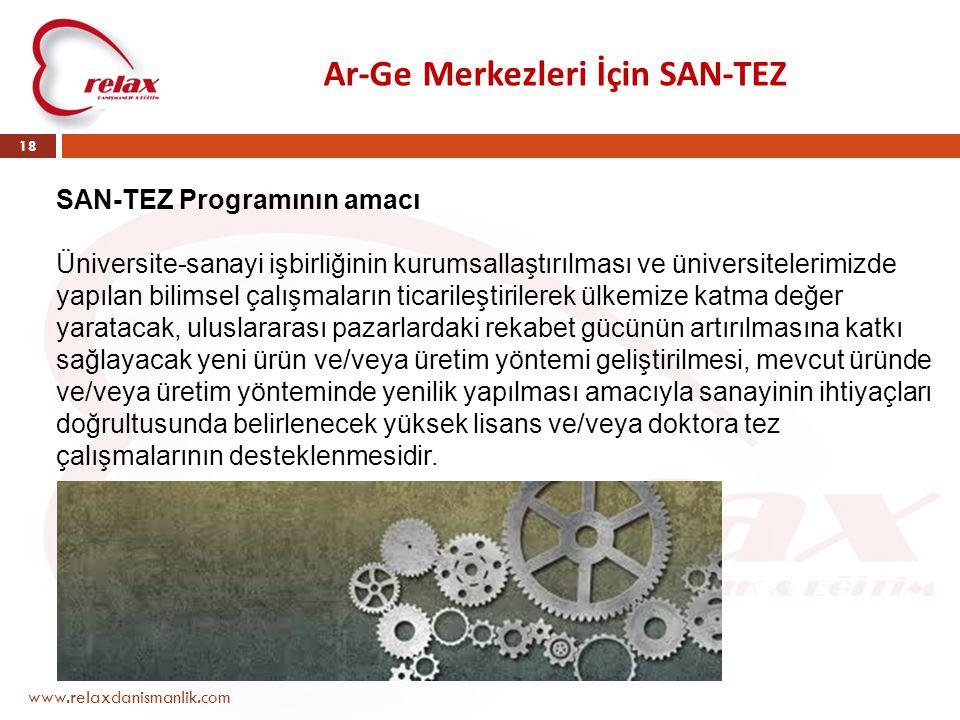 Ar-Ge Merkezleri İçin SAN-TEZ www.relaxdanismanlik.com 18 SAN-TEZ Programının amacı Üniversite-sanayi işbirliğinin kurumsallaştırılması ve üniversitel